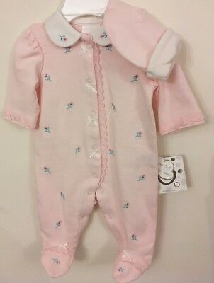 Little Me Whimsical Garden Aged 3 Mnths Pink Gorgeous  Babygrow And Matching Hat