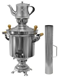 Russischer türkischer Edelstahl Holzkohle Samowar 5 Liter + 1 Liter Teekanne