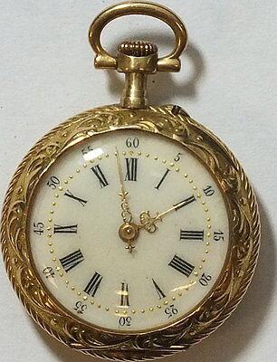 Damen Taschenuhr .585 Gold Blumenmuster     #    69