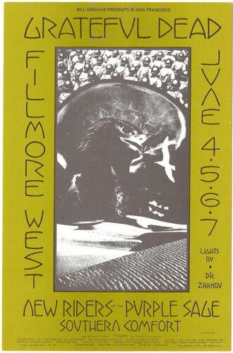 GRATEFUL DEAD New Riders SOUTHERN COMFORT 1970 Fillmore POSTCARD BG 237