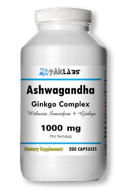Ashwagandha With Ginkgo Biloba Complex Indian Ginseng Best Quality 200