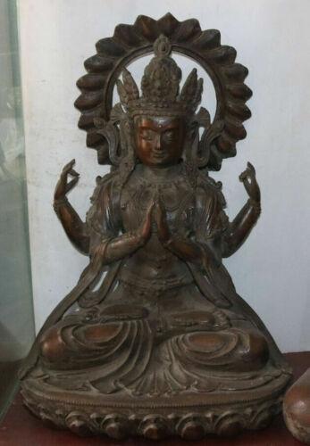 "21"" Huge China Purple Bronze 4 Arms jealousy Buddha Avalokiteshvara statues"