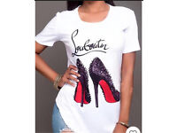 New Louboutin fit 10 -12 shoes motif t shirt ladies designer