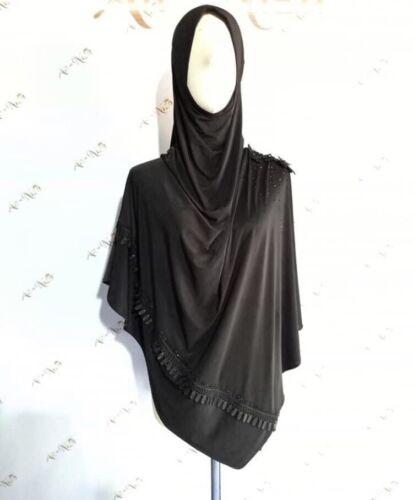 Black An Niza-Khimar-One-Piece-Slip-On-Pinless Scarf-Instant Hijab Jilbab