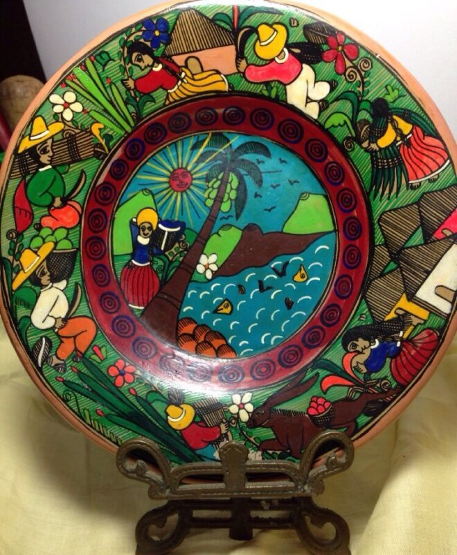 Mexican Ceramic Clay Hanging Plate Hand painted Folkart Signed