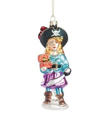GALLERIE II LADY PIRATE BUCCANEER GLASS HALLOWEEN CHRISTMAS ORNAMENT