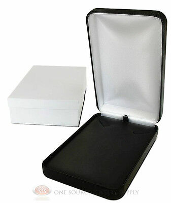 Black Leather Metal Necklace Pendant Jewelry Gift Box 4 14w X 7d X 1 58h