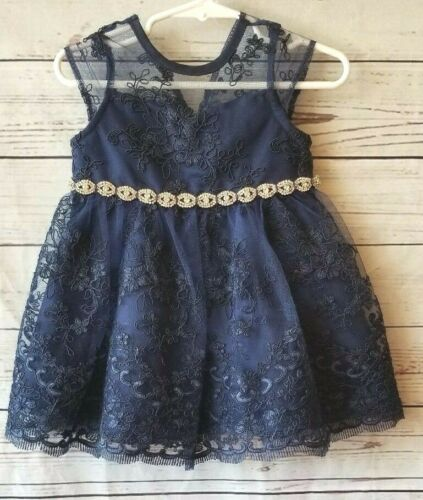RARE EDITIONS Girls Party DRESS Blue Embroidery Rhinestones Sleeveless 12 Months