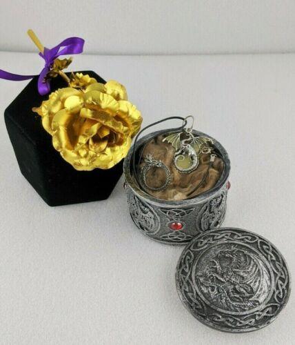 W95c 24kt Gold Rose w Dragon necklace, ring & dragon trinket box Oddity