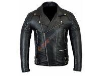 Vintage Men Biker Genuine leather jacket wax black JACKET