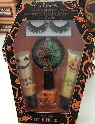 Halloween 5 piece cosmetic set eyelash, lip gloss, body glitter, Nail Polish](Halloween Nail Polish Set)