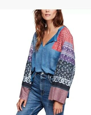 Free People Women's Oversized V Neck Bell Sleeve Boho Shibuya Pullover Tee