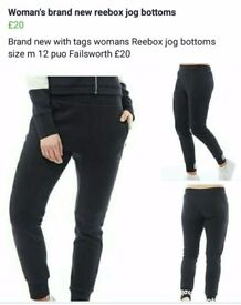 Womans reebox jog bottoms new with tags