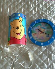 WINNIIE THE POOH LAMP AND CLOCK