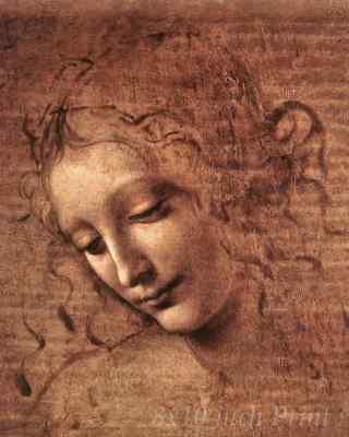 The Head of a Young Woman by Leonardo da Vinci - Portrait  8x10 Print 1507