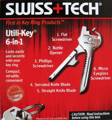 4pcs 6in1 Utili-Key Keychain Keyring Multi Tool Stainless EDC Screwdriver Opener