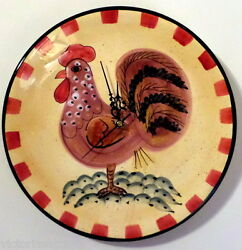 Collectible Very Large Hand Painted Rooster/Chicken Ceramic Plate Wall Clock