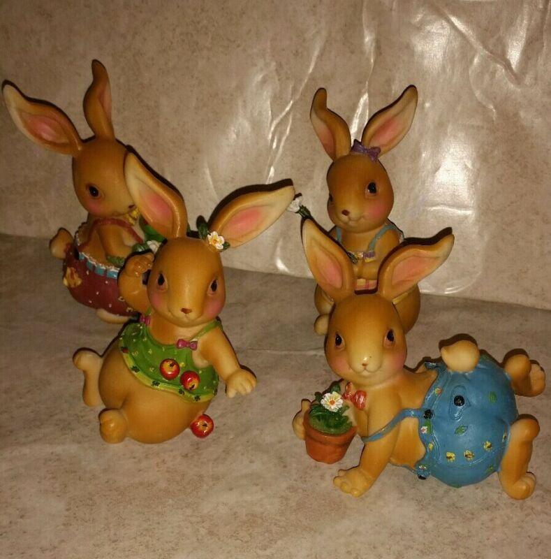 Easter/Spring playful bunnies set (4pc)