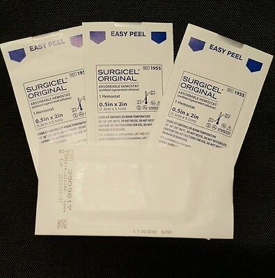 """(4) 1955 ETHICON SURGICEL ORIGINAL ABSORBABLE HEMOSTAT 0.5"""" X 2"""" (IN-DATE)"""