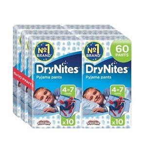 Huggies DryNites Boys Pants 4-7 Years Pyjama Pants Pack of 6 Total 60 Pants NEW