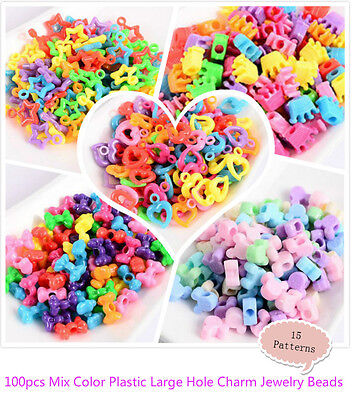 100pcs Mix Color Plastic Large Hole Charm Jewelry Pony Beads For Kids Crafts DIY