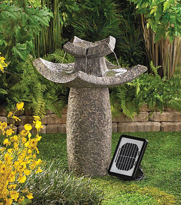 Solar Water Fountain Pump Outdoor Asian Faux Stone Dual Powered Garden Art  for sale  USA