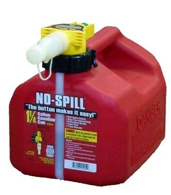 No Spill 1-14 Gallon Poly Gas Can Carb Compliant Tank Fuel Storage Red Spout..