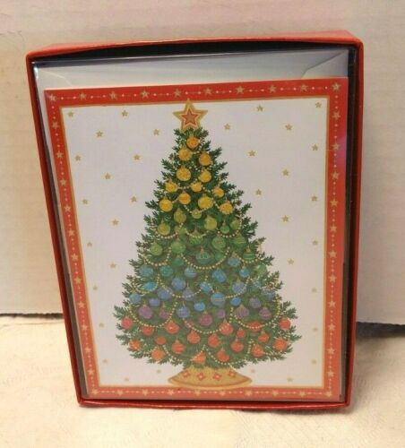 Ombre Tree Christmas Cards - Caspari - NEW Boxed set of 15