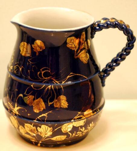 Antique Porcelain COBALT BLUE & GOLD CREAMER Floral Birds HAND PAINTED Japan