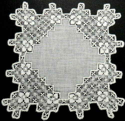 "Tenerife Needle Lace Linen Handkerchief 10.5""  Wedding, Delicate Vintage Fine"