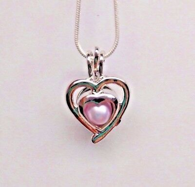 Make A Wish Necklace - Make a Wish Pearl Cage Pendant Necklace - Double Hearts - 925 Chain+Pearl