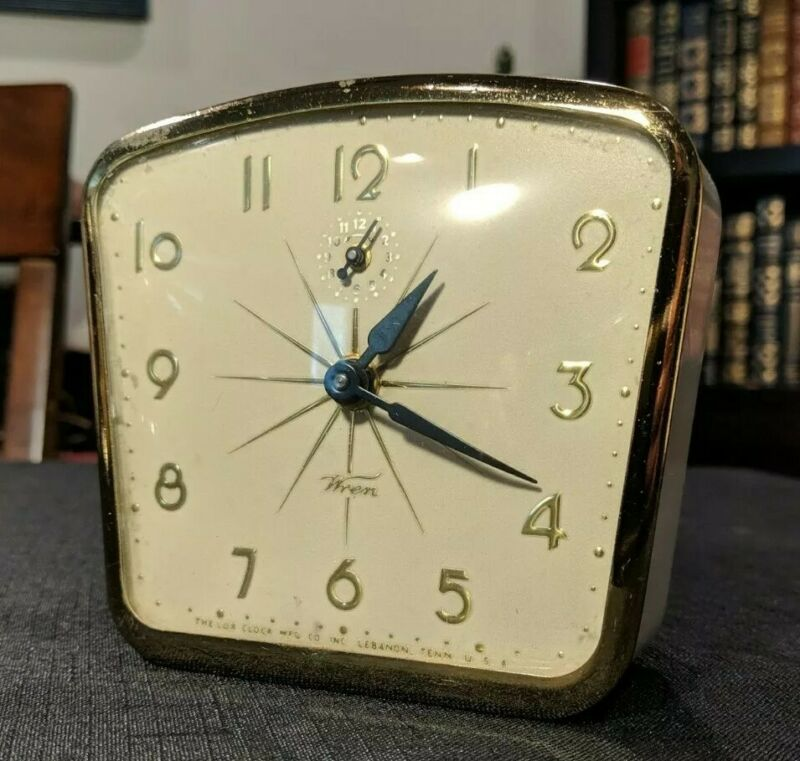 Vintage Lux Wren Metal Alarm Clock~Mid Century Atomic Starburst Design~Works!