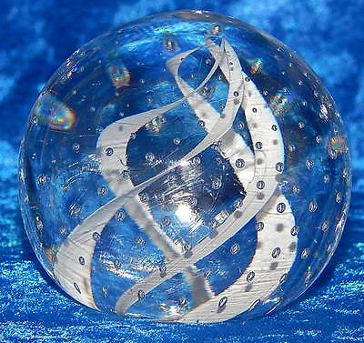 Art Glass Paperweight with White Swirl Ribbons and Controlled Bubbles