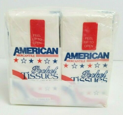 Vintage American Mercantile Pocket Tissues 8 Pack Red White & Blue Military