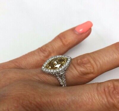 GIA 2.74Ct Marquise Fancy Brownish Yellow Diamond Engagement Ring 18k White Gold 5