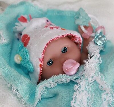 """OOAK 5-6"""" Baby Girl Doll Clothes & ACC~Blue~Pink~5 PC~FOR Mini Reborn~Berenguer"""