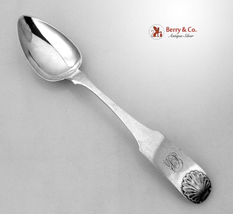 John Curry Shell Dessert Spoons 4 Philadelphia Coin Silver 1830 CB