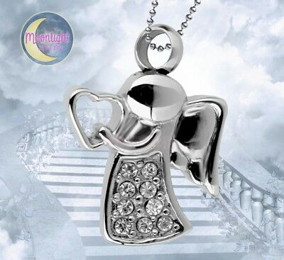 New Angel Heart Harp Cremation Urn Crystal Keepsake Ash Silver Memorial Necklace