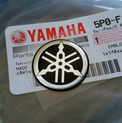 YAMAHA STICKER DECAL EMBLEM GENUINE LOGO 25 mm TUNING FORK BLACK SILVER for sale  Shipping to United States