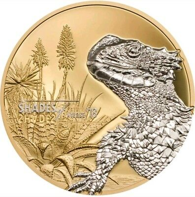 2018 25G Proof Silver   5 Sungazer Lizard Gilded Coin   On Hands