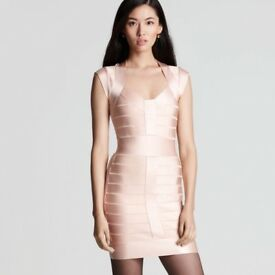 French Connection Pale Pink Bodycon Dress Size 6-8.