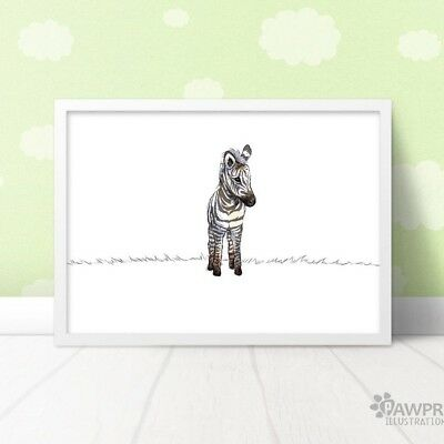 Zebra Print Baby Shower (Zebra Safari Art Print | Zoo Nursery Baby Shower Christening Gift |)