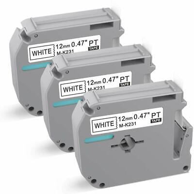 3 Pk M-k231 Mk-231 Label Tape Compatible With Brother P-touch Label Maker 12mm..