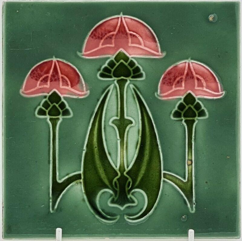 RHODES TILE CO ART NOUVEAU TILE GOTHIC DESIGN 1906 6IN.SQ.