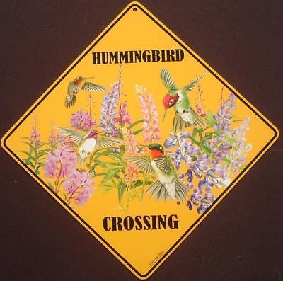 HUMMINGBIRD CROSSING SIGN ALUMINUM western birds decor novelty picture signs