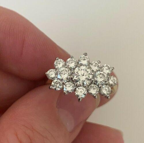 18ct gold 1.70ct diamond cluster ring, SM