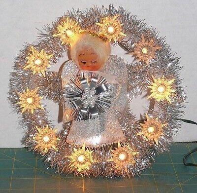Vintage Christmas 10 Lights Angel Tree Topper Silver Tinsel