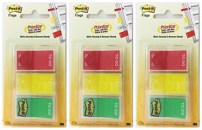 3pk Post-it Flags To Do Prioritize Tasks Red Yellow Green 60 Ct Each