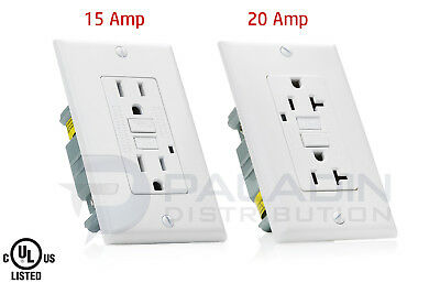 15A   20A Amp Gfci Gfi Safety Outlet Receptacle W  Wall Plate   White  Ul Listed
