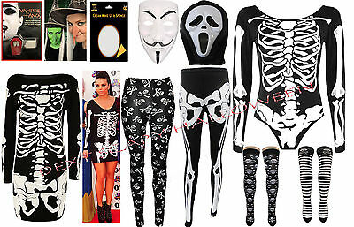 Ladies Halloween Plus Size Leggings Bodysuit Skeleton Dress Costume womens 8-26 - Plus Size Womens Skeleton Costume